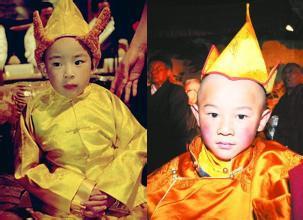 班禅小时分(左)和被确定为德珠活佛转世的灵童