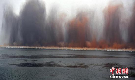 7月14日7时,伴随着一声声的爆破轰鸣,梁子湖与牛山湖隔堤正式实施爆破作业,这标志着湖北梁子湖流域的牛山湖正式破垸分洪。梁子湖为湖北省第二大湖泊。孙家军 摄