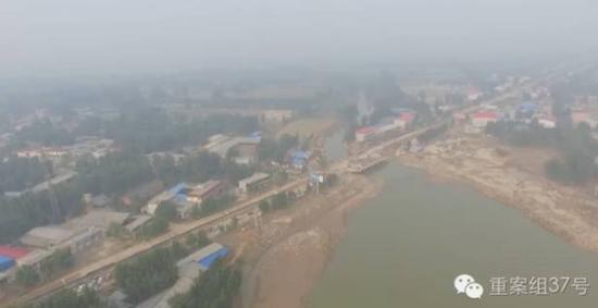 七里河洪水进入大贤桥河道 航拍图