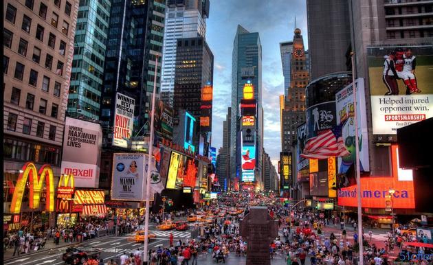 资料图:纽约时报广场。