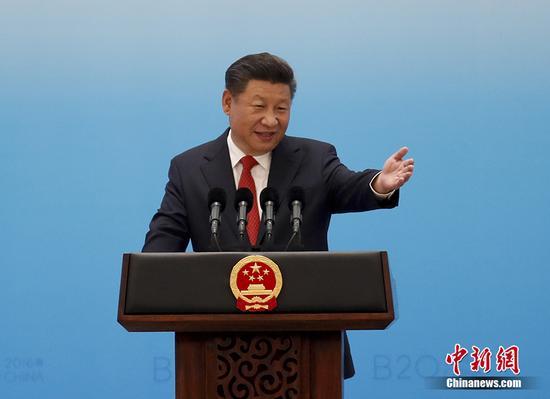 9月3日,中华人民共和国主席习近平在二十国集团工商峰会开幕式上发表主旨演讲。 中新社记者 杜洋 摄