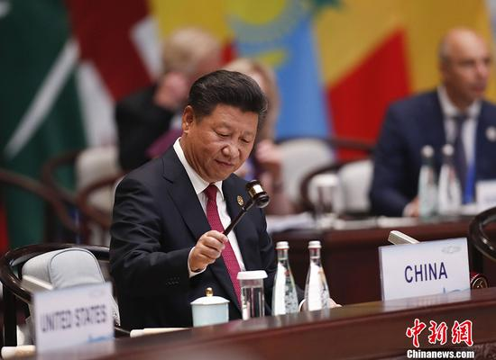 9月4日,中华人民共和国主席习近平出席二十国集团领导人杭州峰会并致开幕辞。 中新社记者 杜洋 摄