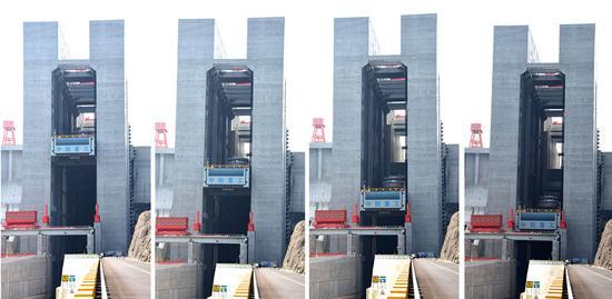 从左至右为升船机的承船厢从上降下(拼版照片)。新华社记者 程敏 摄