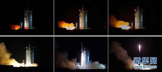 """材料图像:2016年8月16日1时40分,我国在酒泉卫星发射核心用长征二号丁运载火箭胜利将全球首颗量子科学试验卫星(简称""""量子卫星"""")发射升空(拼版相片)。 新华社记者 金立旺 摄"""