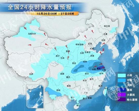今天,黄淮江淮等地多雨。