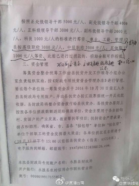 云南永胜县要求干部职工捐扶贫款最低1000最高5000