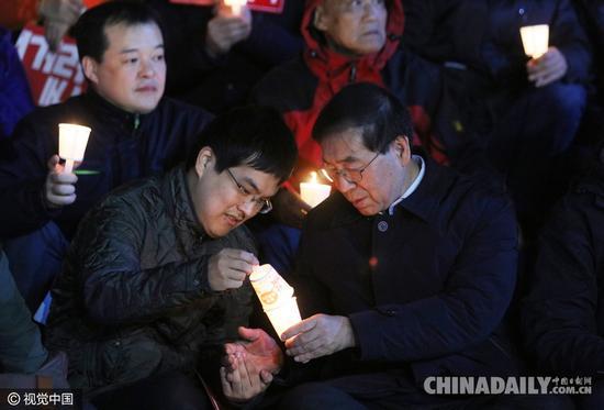 首尔市长参与要求朴槿惠下台集会(图)