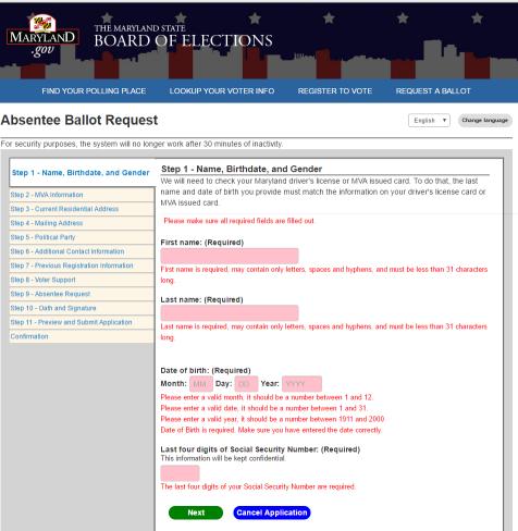 马里兰州网上注册投票页面