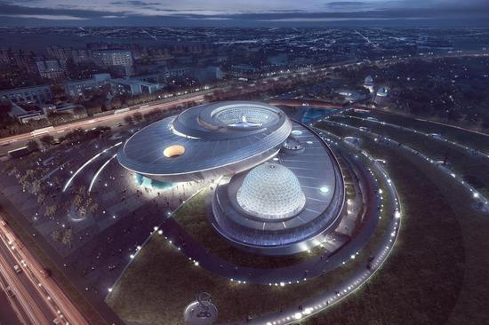 上海天文馆夜景效果图。上海科技馆供图
