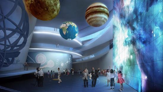 上海天文馆内部展示效果图。上海科技馆供图
