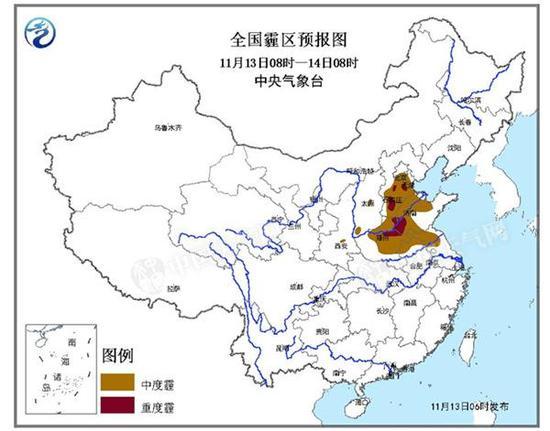 霾黄色预警:河北河南山东局地有重度霾