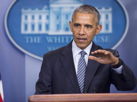 11月14日下午,奥巴马在希拉里败选后首次召开记者会(图片来源:法新社)