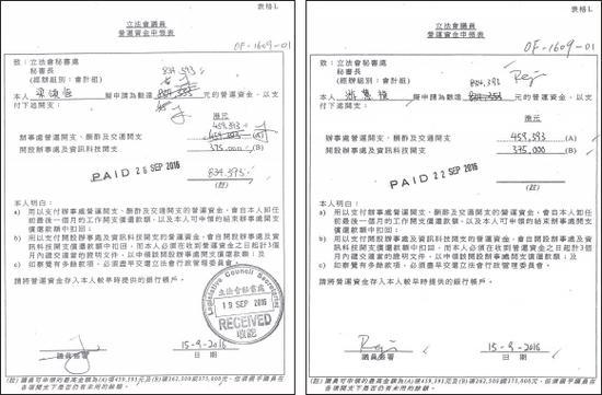 梁、游申报营运资金时先写了834,353元,比上限少40元,但其后改成834,393元,连40元都要拿尽