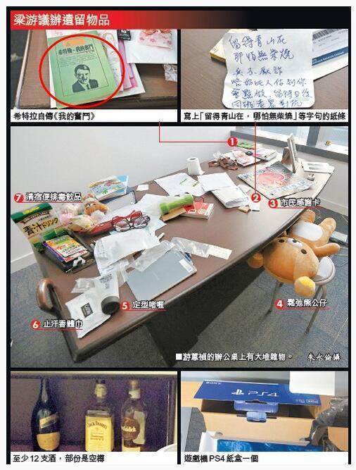 梁颂恒游蕙祯办公室有多个酒瓶、纳粹书籍、零食等