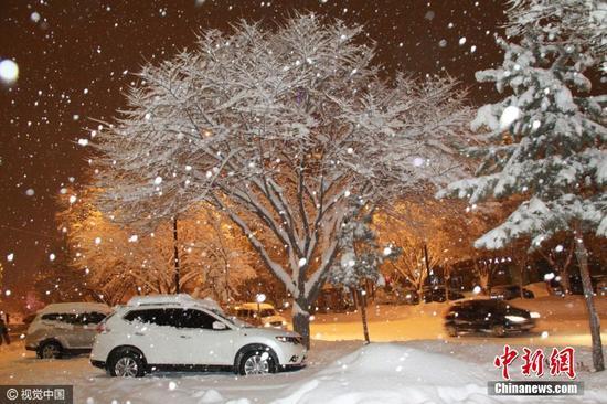 阿勒泰地区气象台副台长齐贵英说,阿勒泰市区和东部各县暴雪要持续到16日,暴雪天气将会对公路、铁路、民航及牧业生产带来非常严重的影响。图片来源:视觉中国