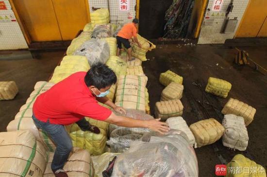 深圳海关销毁千吨洋垃圾 疑日韩废旧衣物欲入境