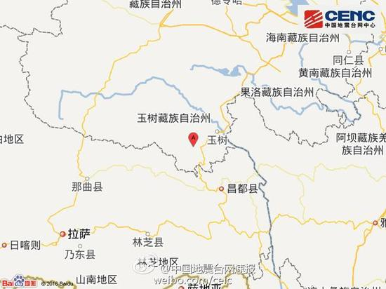 青海玉树州囊谦县发生4.8级地震 震源深度5千米