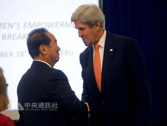 宋楚瑜出席APEC会见克里 称未被授权谈两岸问题