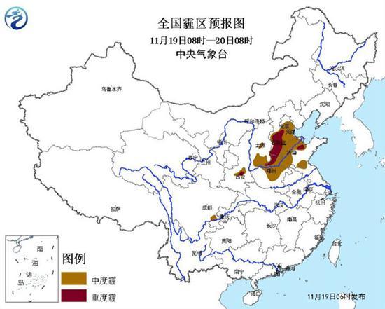 京津冀等7省市今日有中度霾 局地重度霾