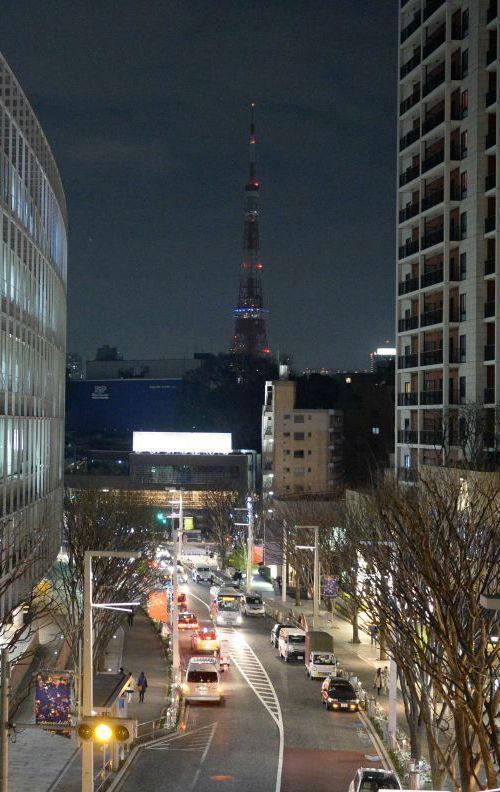 """资料图片:东京街景。图为东京塔响应""""地球一小时""""倡议熄灯。"""