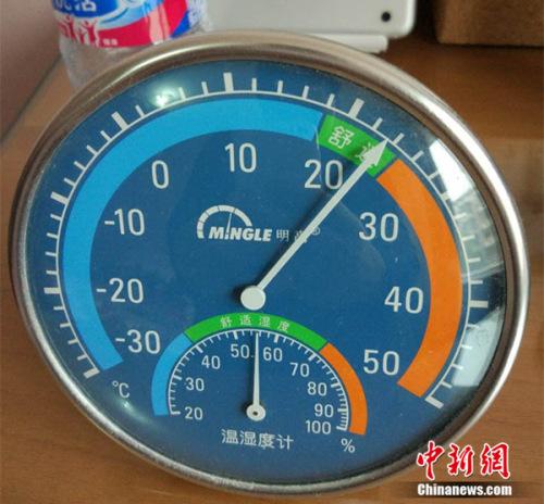 11月17日,北京天通苑一居民家中温度计显示室温超过20度。中新网 邱宇 摄