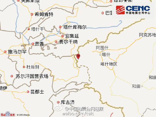 新疆阿克陶县发生4.8级地震 震源深度4千米