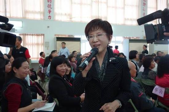 国民党主席洪秀柱27日参加嘉义县党部党庆大会。(国民党供图)