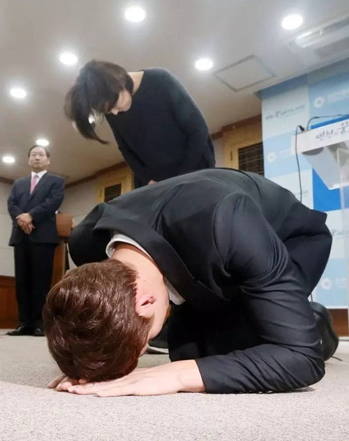 朴泰桓下跪请求韩奥委会放行