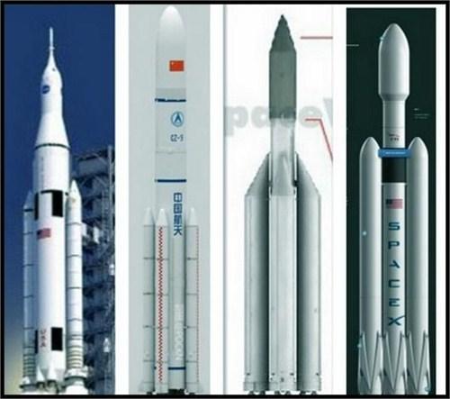 几款重型运载火箭示意图,左二为中国长征9号运载火箭,运载力达百吨级,一次可投送100吨的空间站。