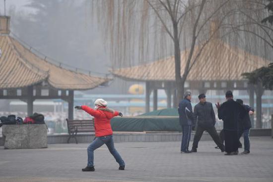 2016年12月21日,一名市民在雾霾笼罩的陶然亭公园内打太极拳。新华社发