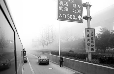 几辆车停在路边等待高速通行