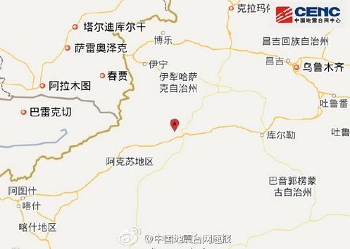 地震位置。微博截图
