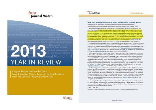 图 3 CHANCE 研讨结果被《新英格兰医学杂志》评为 2013 年国际医学范畴严重停顿