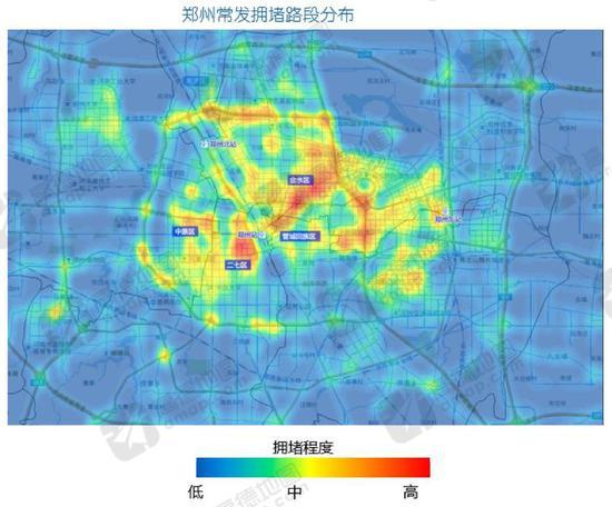 ▲郑州拥堵程度高且集中的区域承载城区67%出行