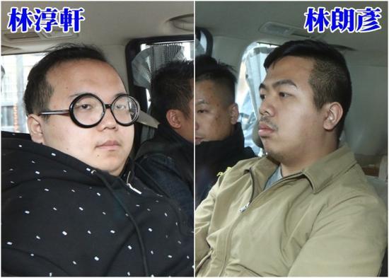 """""""香港众志""""被拘捕成员林淳轩、林朗彦/来源:东网"""