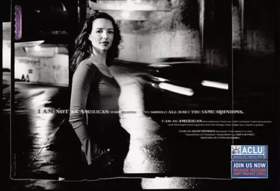 ▲戴维斯·克里斯汀为ACLU拍摄广告大片