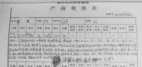 张媛媛的产前察看表。