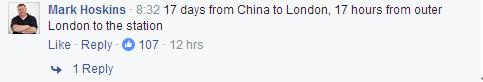 """""""人家17天就從中國開到英國,我住大倫敦郊區,要花17個小時才能到倫敦火車站。"""""""