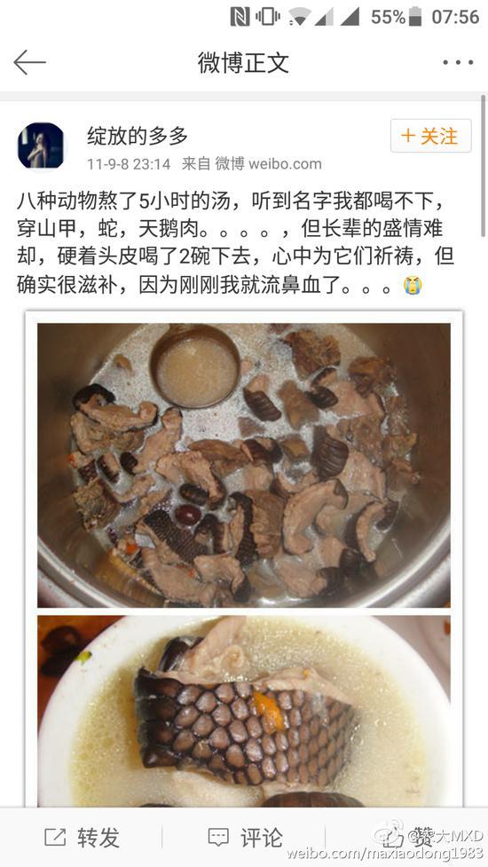"""2011年9月8日,其发布微博称""""喝了用穿山甲、蛇、天鹅肉等八种动物熬制成的汤,补到流鼻血。"""