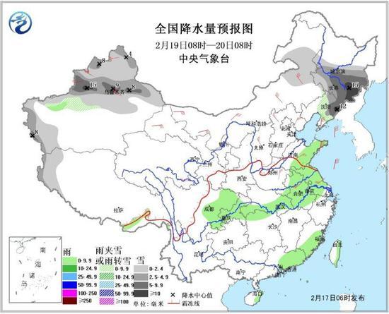 图4 全国降水量预报图(19日08时-20日08时)