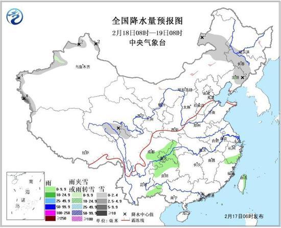 图3 全国降水量预报图(18日08时-19日08时)