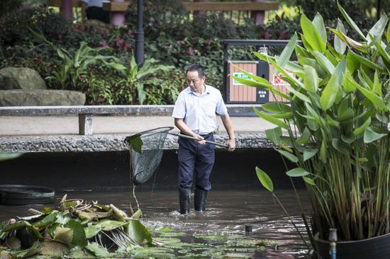 2015年9月15日,流花湖公园内,警察正在案发现场附近的荷花池内打捞物证,进行进一步的勘察。广报记者陈忧子摄