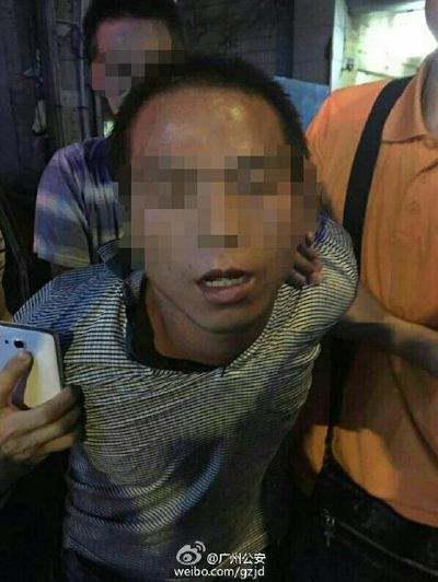 被告人郑发岑被抓获瞬间。图片来源:@广州公安