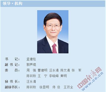 """中国长安网""""领导・机构""""栏目截图"""