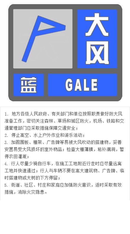 北京发布大风蓝色预警信号 明日白天阵风可达7级