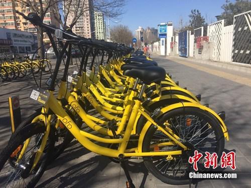 北京朝阳公园附近,共享单车投放数量惊人。中新网 吴涛 摄