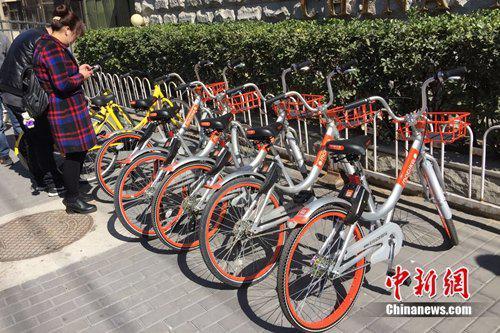 用户正在扫码解锁共享单车。中新网 吴涛 摄