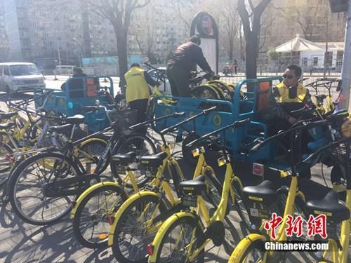 某家共享单车企业运维人员正将故障车放进三轮车内,集中收回。中新网 吴涛 摄