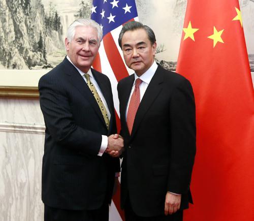 2017年3月18日,外交部长王毅在北京同来访的美国国务卿蒂勒森举行谈判。