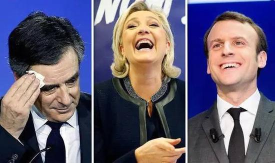 左至右分別為法國總統候選人菲永、勒龐和馬克龍。